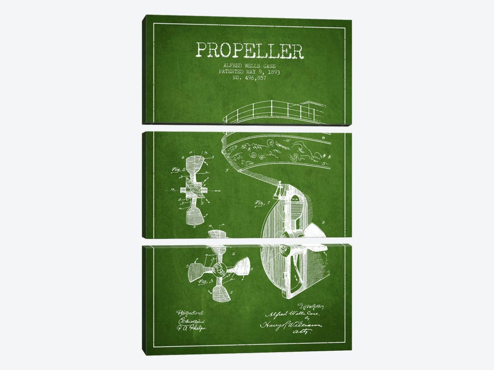 Propeller Green Patent Blueprint by Aged Pixel 3-piece Canvas Wall Art