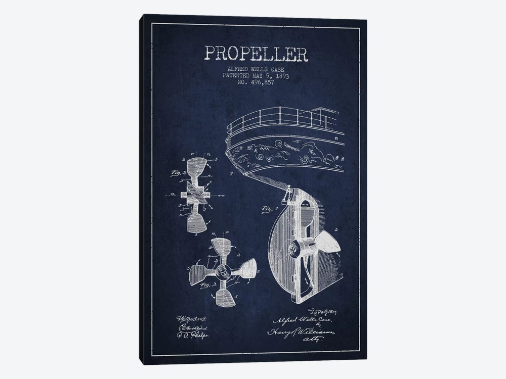Propeller Navy Blue Patent Blueprint by Aged Pixel 1-piece Canvas Art Print