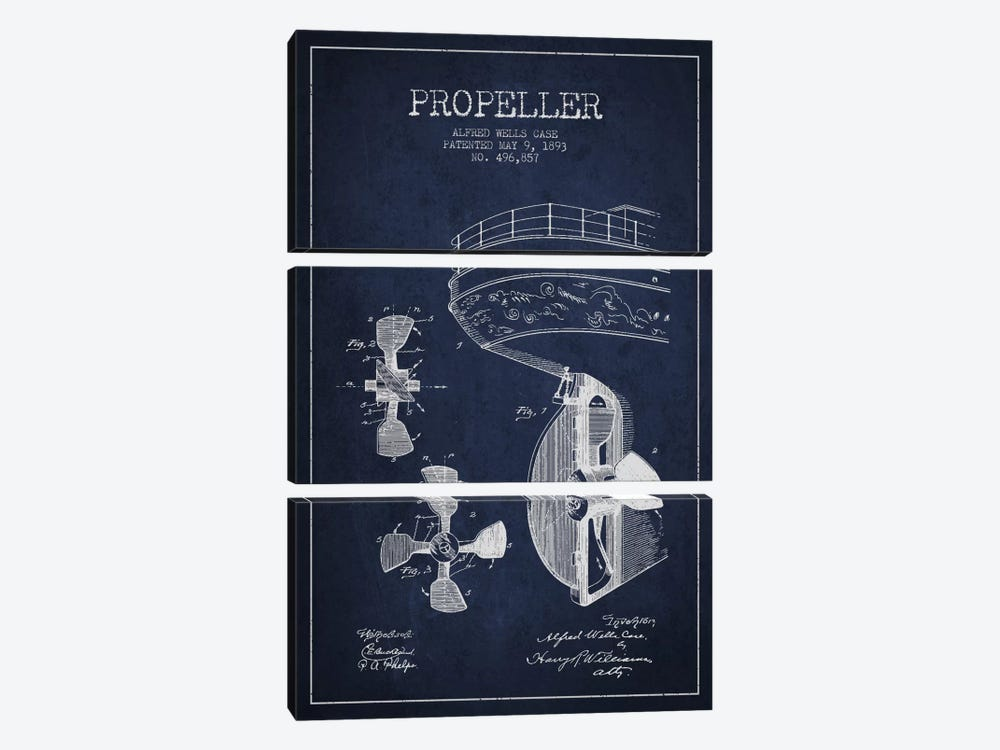 Propeller Navy Blue Patent Blueprint by Aged Pixel 3-piece Art Print