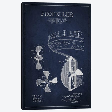 Propeller Navy Blue Patent Blueprint 3-Piece Canvas #ADP2612} by Aged Pixel Canvas Art Print