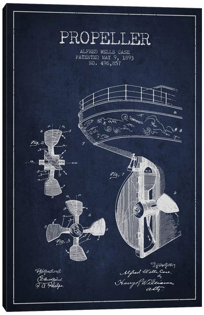 Propeller Navy Blue Patent Blueprint Canvas Art Print