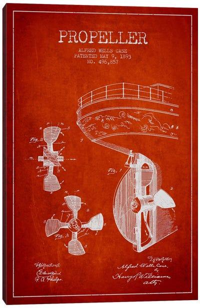 Propeller Red Patent Blueprint Canvas Print #ADP2613