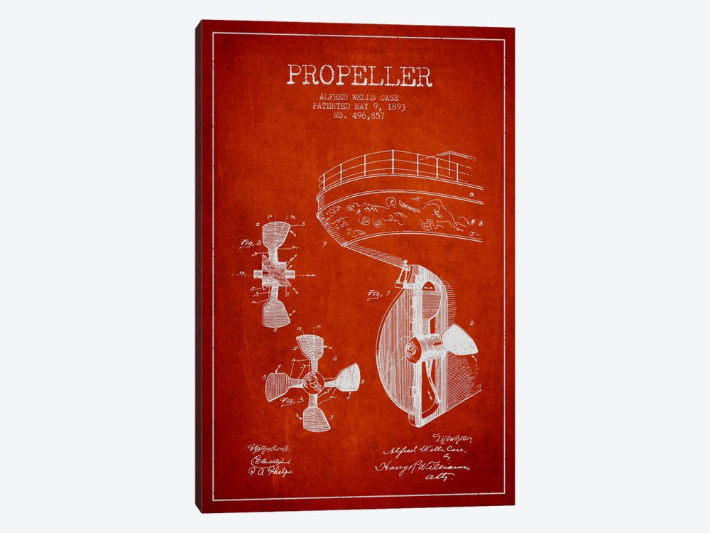 Propeller Red Patent Blueprint by Aged Pixel 1-piece Canvas Artwork