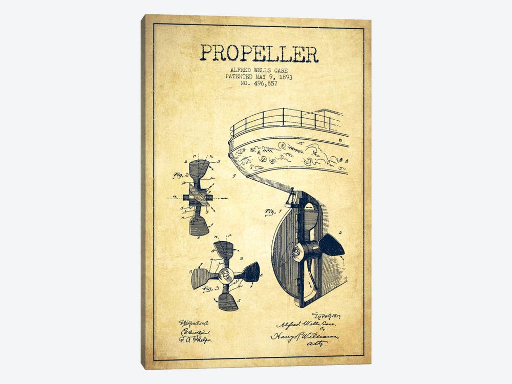 Propeller Vintage Patent Blueprint by Aged Pixel 1-piece Canvas Print