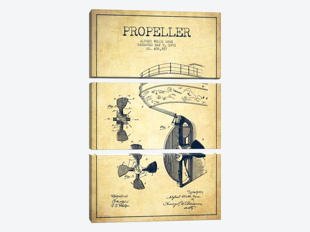 Propeller Vintage Patent Blueprint by Aged Pixel 3-piece Art Print