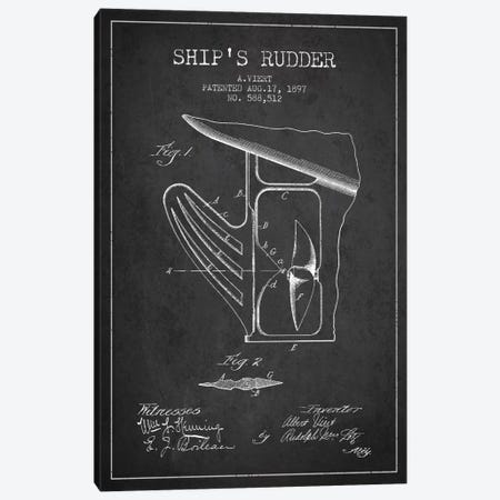 Rudder Charcoal Patent Blueprint Canvas Print #ADP2615} by Aged Pixel Canvas Art
