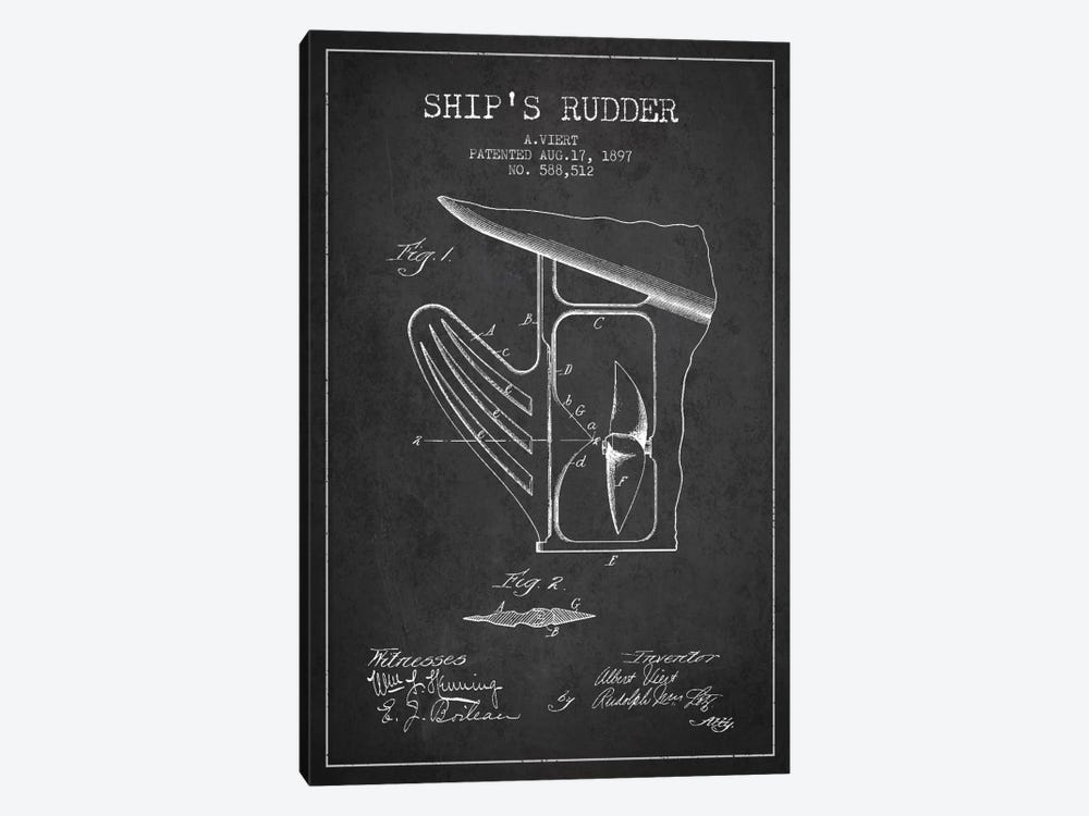 Rudder Charcoal Patent Blueprint by Aged Pixel 1-piece Canvas Wall Art
