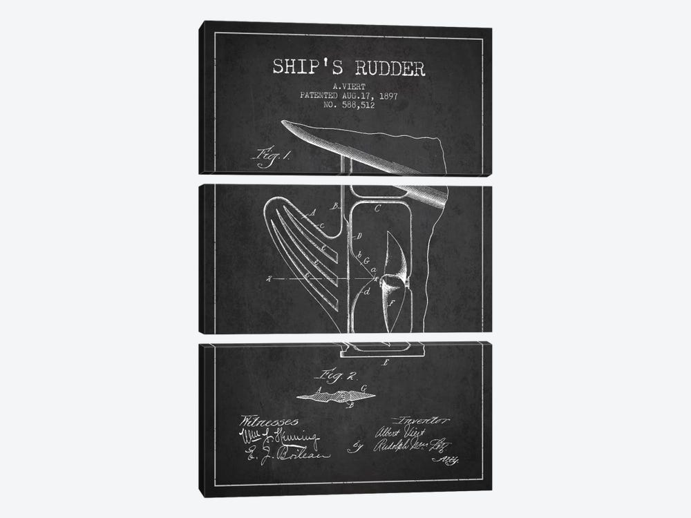 Rudder Charcoal Patent Blueprint by Aged Pixel 3-piece Canvas Artwork