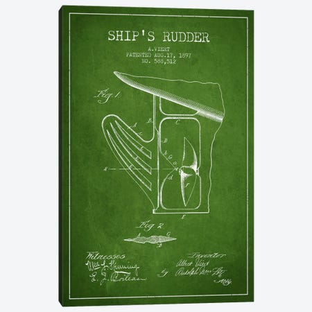 Rudder Green Patent Blueprint Canvas Print #ADP2616} by Aged Pixel Canvas Art