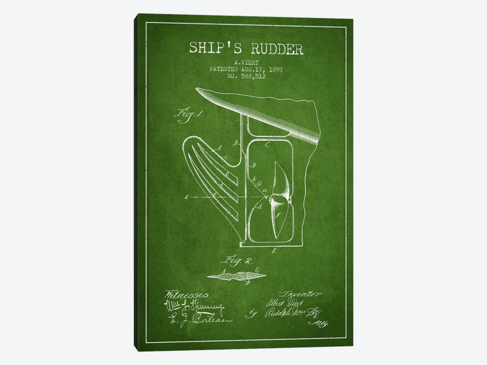 Rudder Green Patent Blueprint 1-piece Canvas Art Print