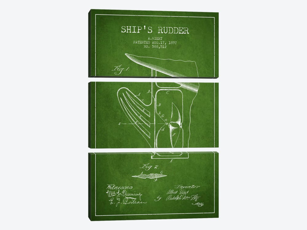 Rudder Green Patent Blueprint by Aged Pixel 3-piece Canvas Art Print