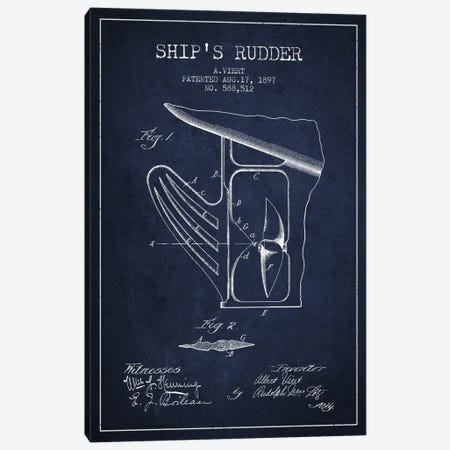 Rudder Navy Blue Patent Blueprint Canvas Print #ADP2617} by Aged Pixel Canvas Wall Art