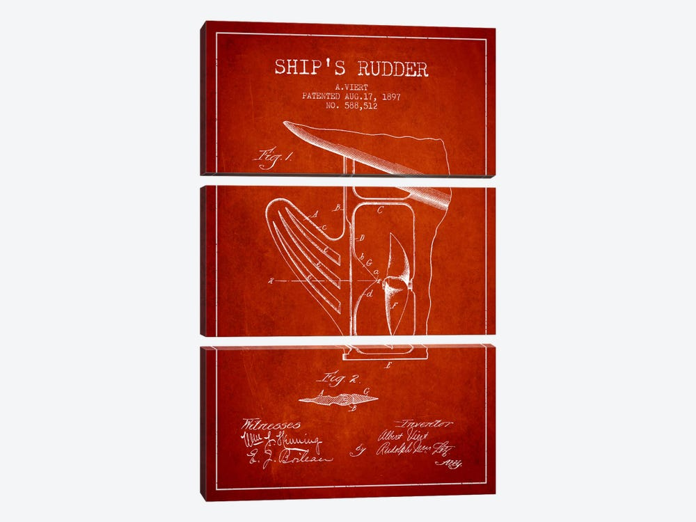 Rudder Red Patent Blueprint by Aged Pixel 3-piece Canvas Print