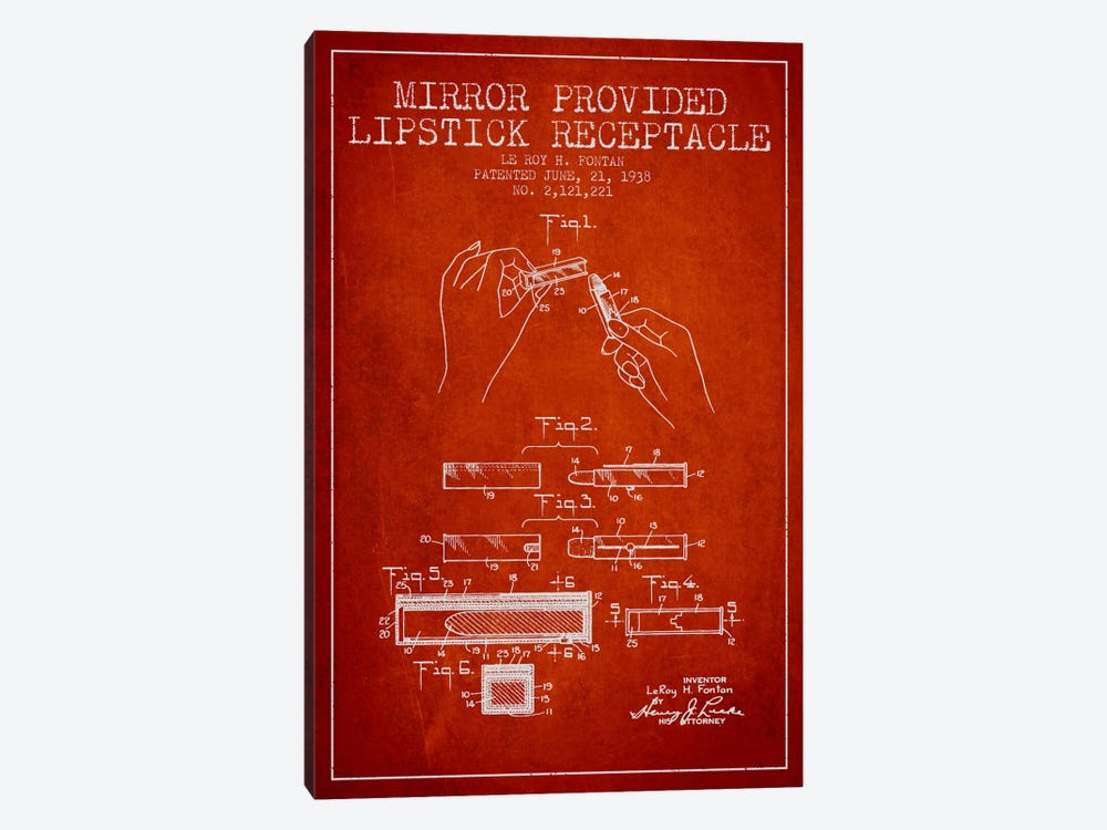 Mirror Provided Lipstick Red Patent Blueprint by Aged Pixel 1-piece Art Print