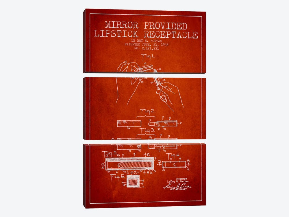 Mirror Provided Lipstick Red Patent Blueprint by Aged Pixel 3-piece Canvas Art Print