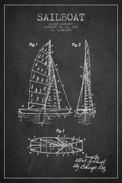 Sailboat charcoal patent blueprint art print by aged pixel icanvas canvas malvernweather Image collections