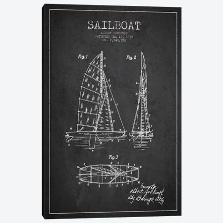 Sailboat Charcoal Patent Blueprint Canvas Print #ADP2620} by Aged Pixel Canvas Artwork