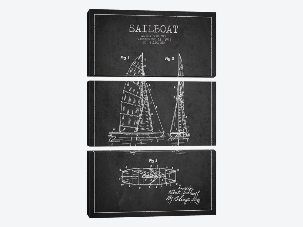 Sailboat Charcoal Patent Blueprint by Aged Pixel 3-piece Canvas Artwork