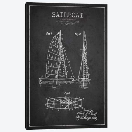 Sailboat Charcoal Patent Blueprint Canvas Print #ADP2620} by Aged Pixel Canvas Artwork