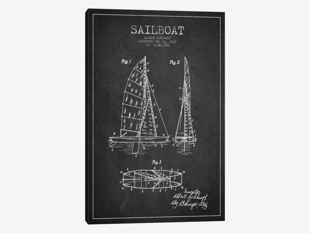 Sailboat Charcoal Patent Blueprint by Aged Pixel 1-piece Canvas Wall Art