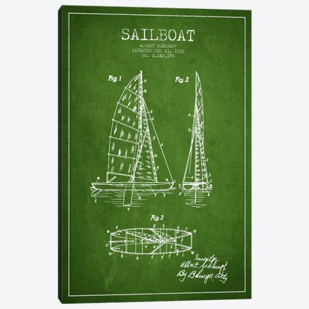 Sailboat Green Patent Blueprint Canvas Print #ADP2621} by Aged Pixel Canvas Wall Art