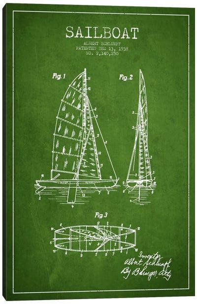 Sailboat Green Patent Blueprint Canvas Print #ADP2621