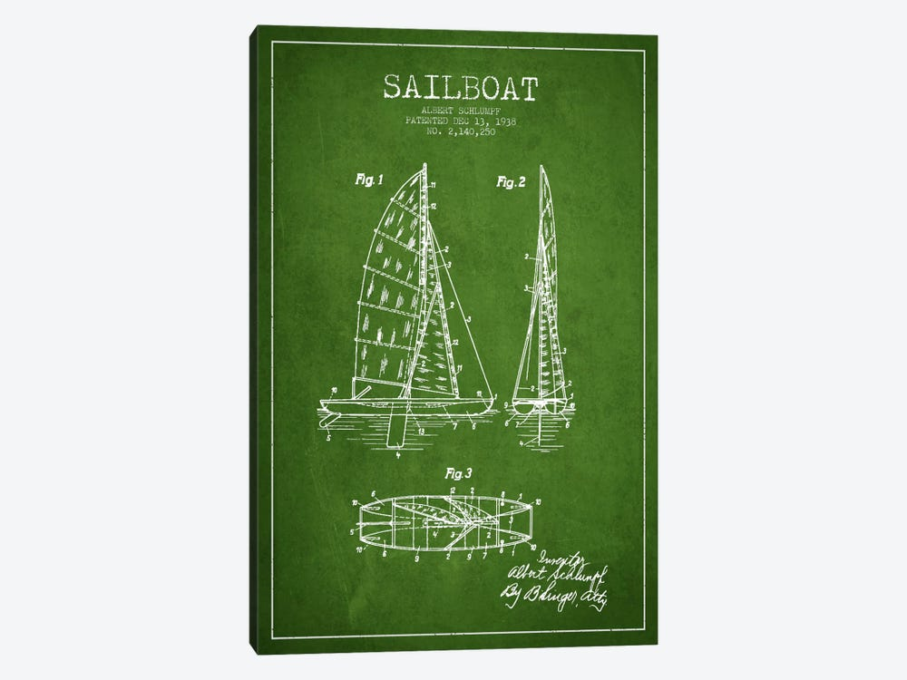 Sailboat Green Patent Blueprint by Aged Pixel 1-piece Art Print