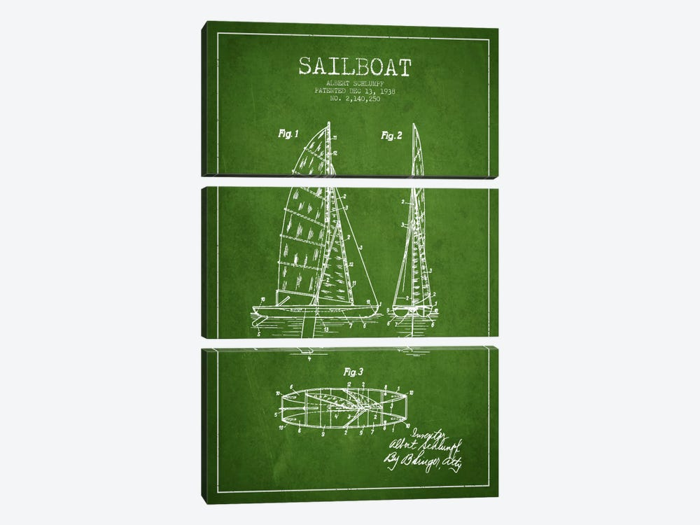 Sailboat Green Patent Blueprint by Aged Pixel 3-piece Art Print