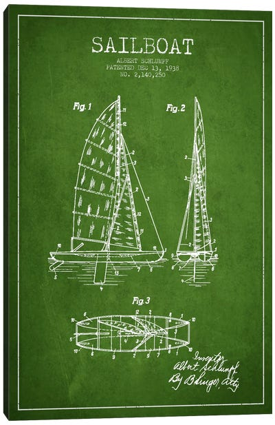 Sailboat Green Patent Blueprint Canvas Art Print
