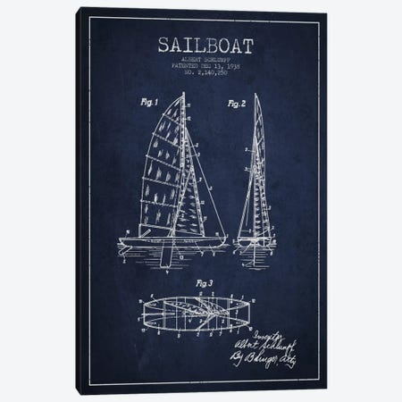 Sailboat Navy Blue Patent Blueprint Canvas Print #ADP2622} by Aged Pixel Canvas Art