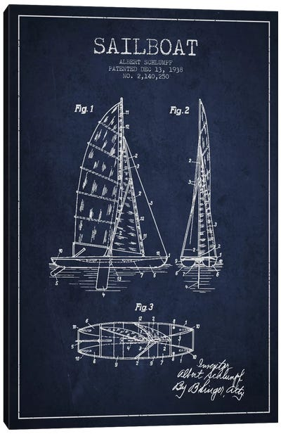 Sailboat Navy Blue Patent Blueprint Canvas Print #ADP2622