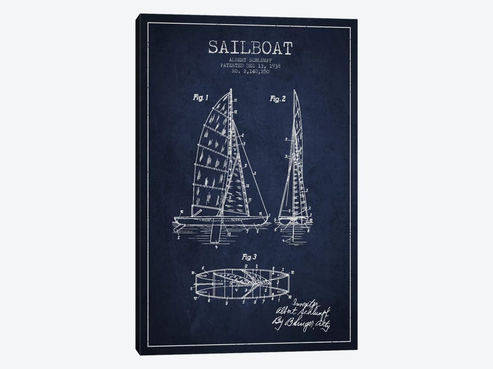 Sailboat Navy Blue Patent Blueprint by Aged Pixel 1-piece Canvas Wall Art