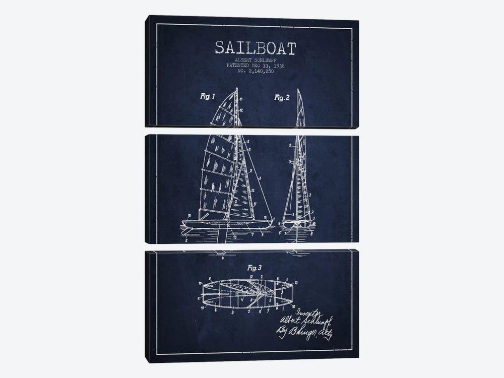 Sailboat Navy Blue Patent Blueprint by Aged Pixel 3-piece Canvas Artwork
