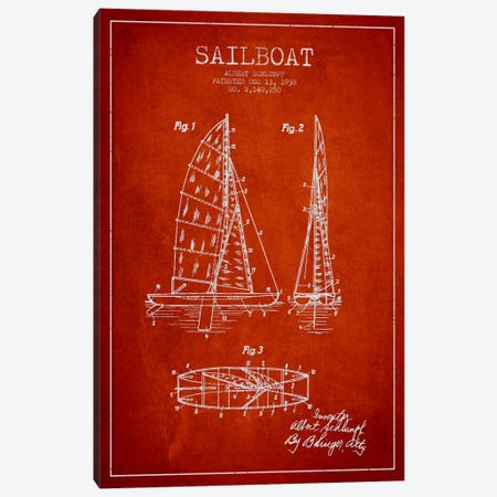 Sailboat Red Patent Blueprint Canvas Print #ADP2623} by Aged Pixel Canvas Wall Art