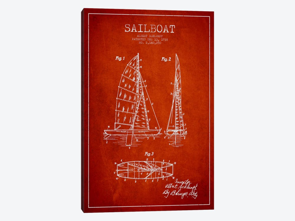 Sailboat Red Patent Blueprint by Aged Pixel 1-piece Canvas Art Print