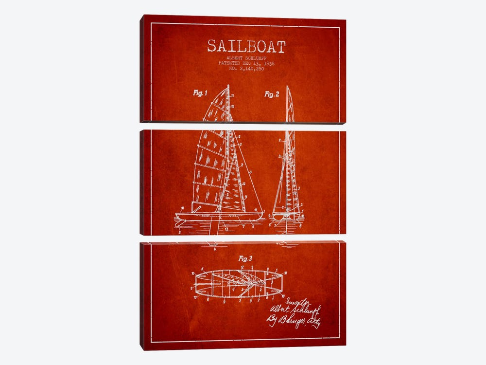 Sailboat Red Patent Blueprint by Aged Pixel 3-piece Canvas Print