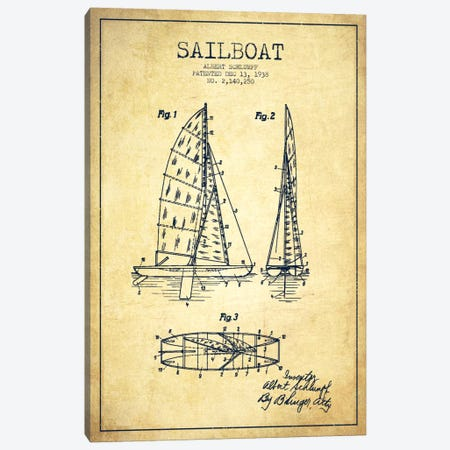 Sailboat Vintage Patent Blueprint Canvas Print #ADP2624} by Aged Pixel Art Print