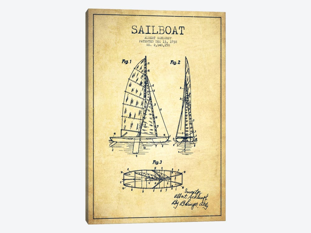 Sailboat Vintage Patent Blueprint by Aged Pixel 1-piece Canvas Art
