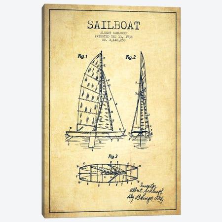 Sailboat Vintage Patent Blueprint Canvas Print #ADP2624} by Aged Pixel Art Print
