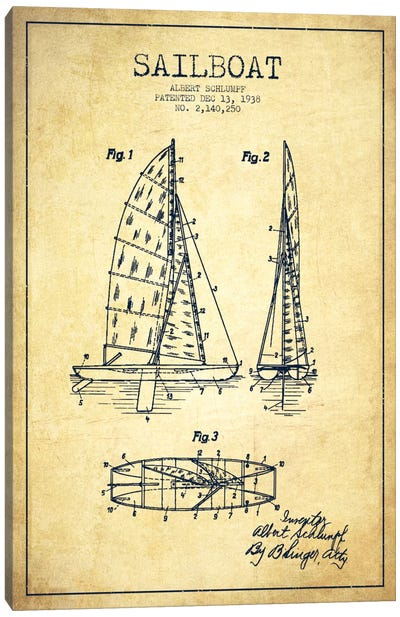 Sailboat Vintage Patent Blueprint Canvas Art Print
