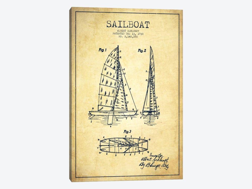 Sailboat Vintage Patent Blueprint by Aged Pixel 1-piece Canvas Art