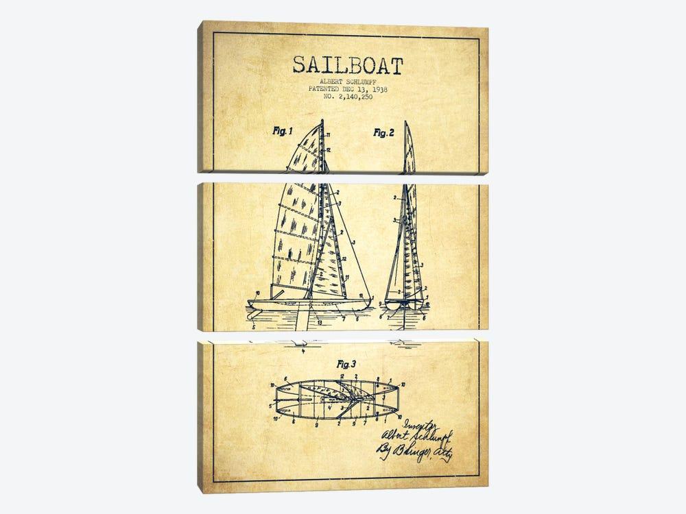 Sailboat Vintage Patent Blueprint by Aged Pixel 3-piece Canvas Artwork