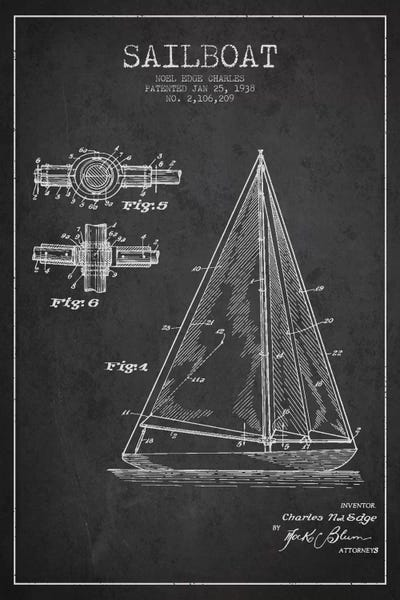 Sailboat charcoal patent blueprint canvas art by aged pixel icanvas malvernweather Gallery