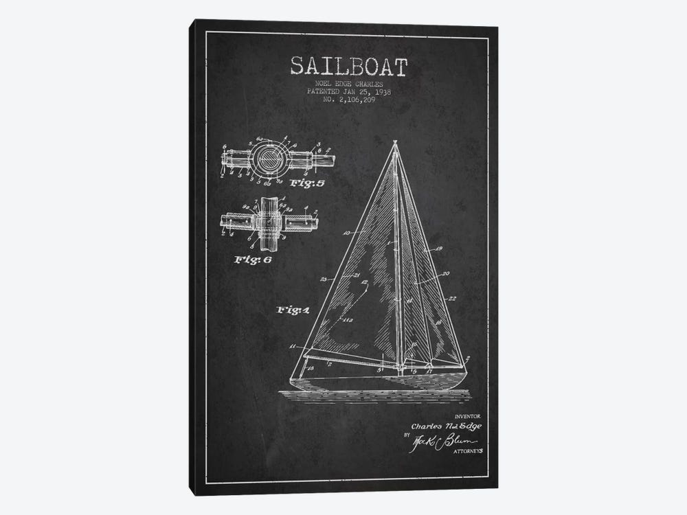 Sailboat Charcoal Patent Blueprint by Aged Pixel 1-piece Canvas Print
