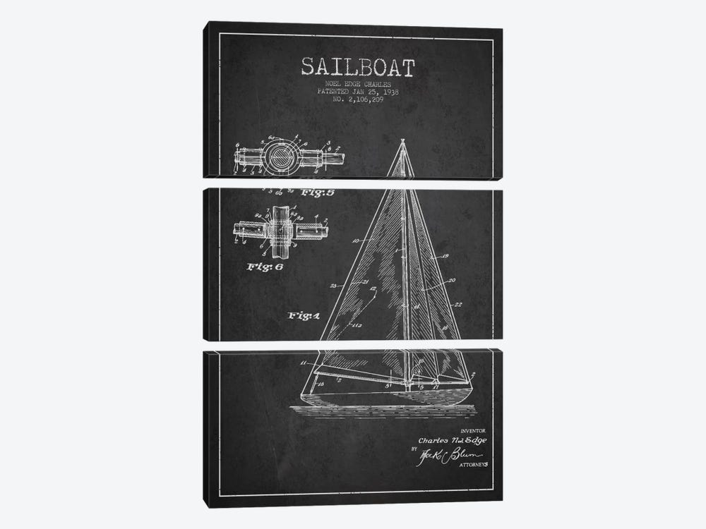 Sailboat Charcoal Patent Blueprint by Aged Pixel 3-piece Art Print