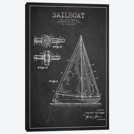 Sailboat Charcoal Patent Blueprint Canvas Print #ADP2625} by Aged Pixel Canvas Print