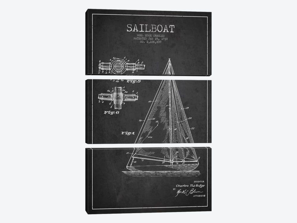 Sailboat Charcoal Patent Blueprint by Aged Pixel 3-piece Art Print
