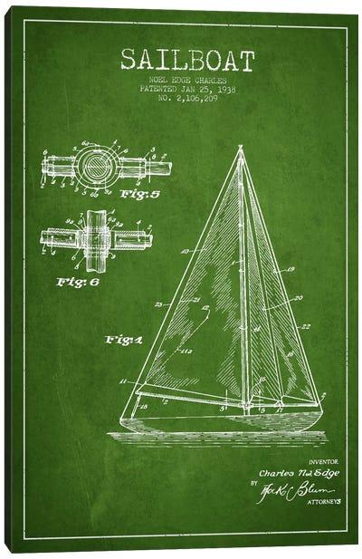 Sailboat Green Patent Blueprint Canvas Print #ADP2626