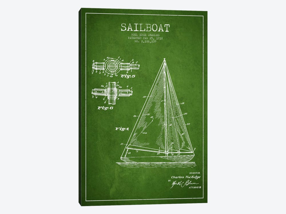 Sailboat Green Patent Blueprint 1-piece Canvas Art