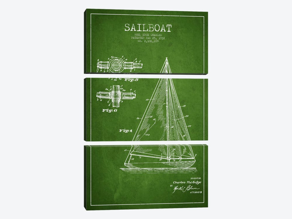 Sailboat Green Patent Blueprint by Aged Pixel 3-piece Canvas Art